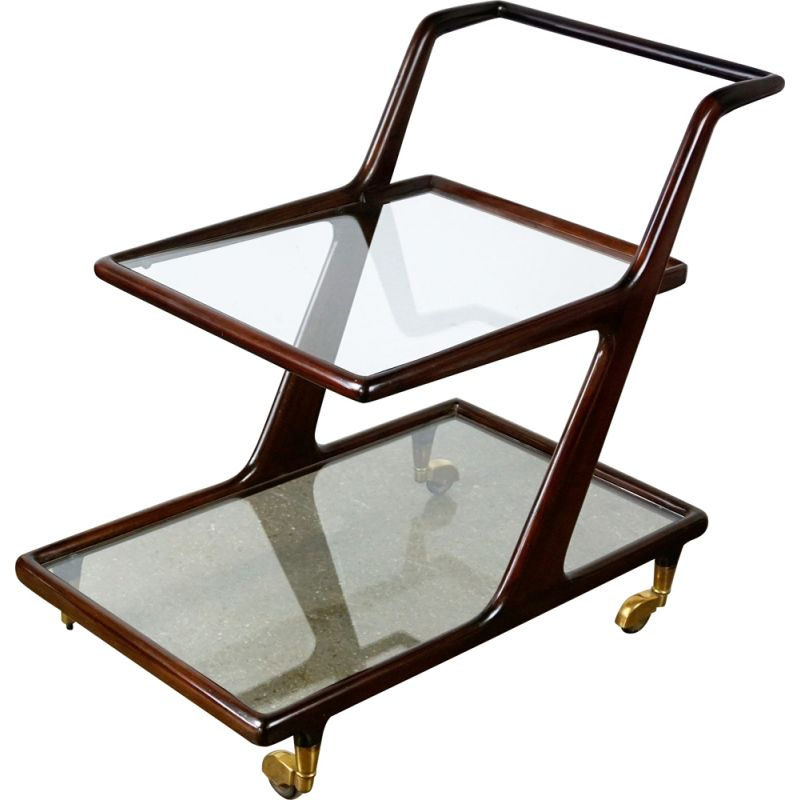 Vintage italian trolley by Cesare Lacca in mahogany glass and brass 1950