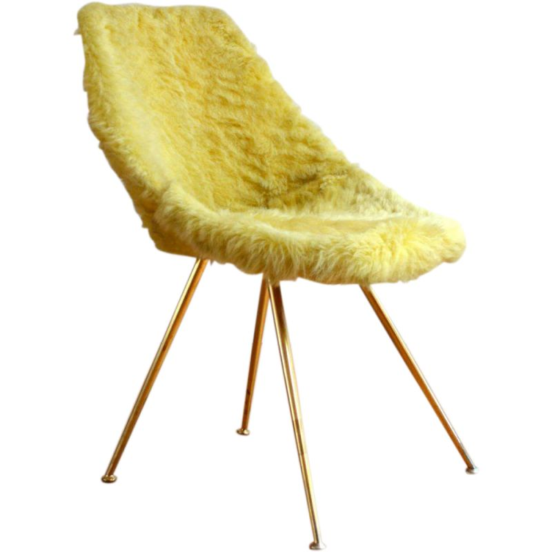 Vintage chair in yellow fabric and metal 1950