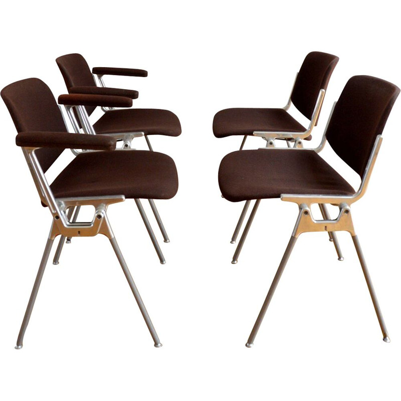 Set of 4 vintage DSC 106 chairs for Castelli in brown fabric and aluminium 1960