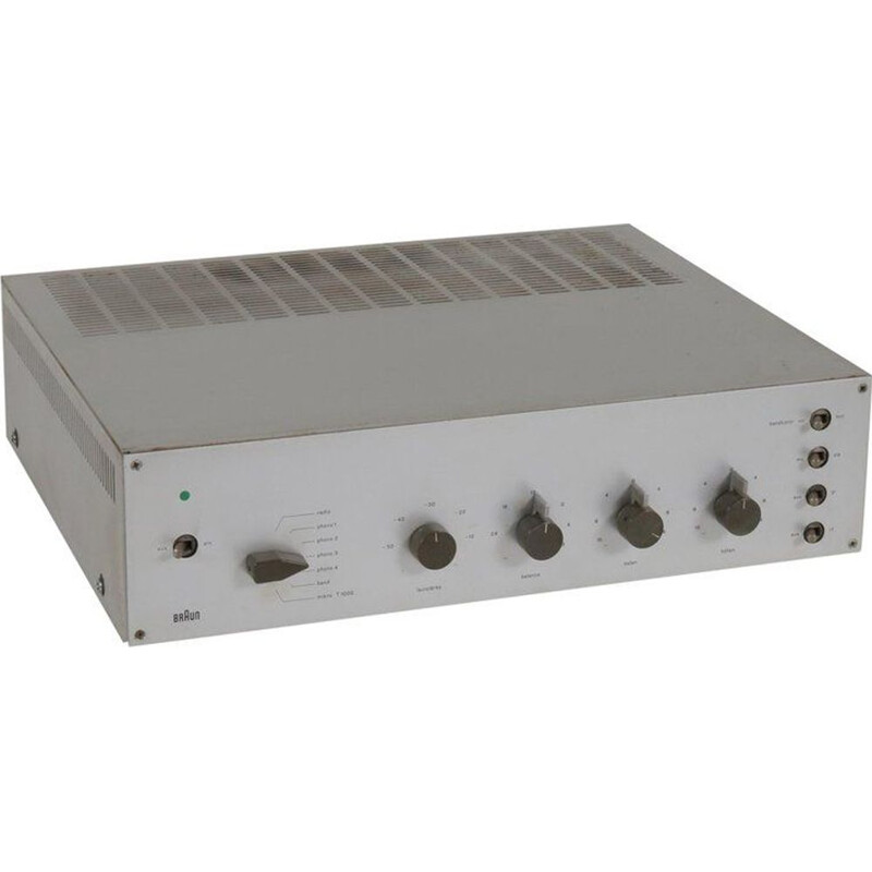 Vintage CSV 601 amplifier for Braun in gray metal 1960