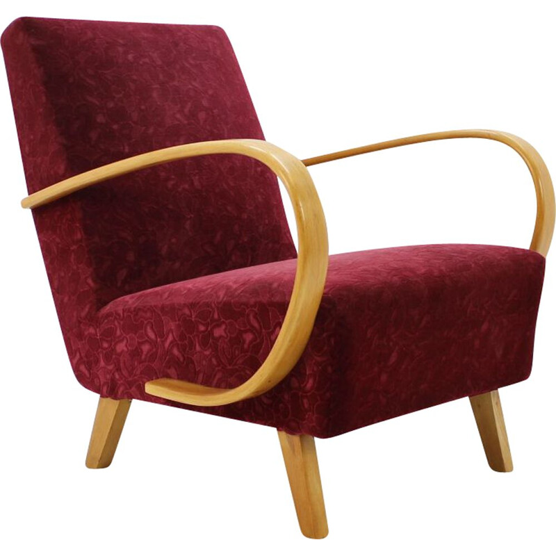 Vintage armchair by Halabala in red fabric and beechwood 1950