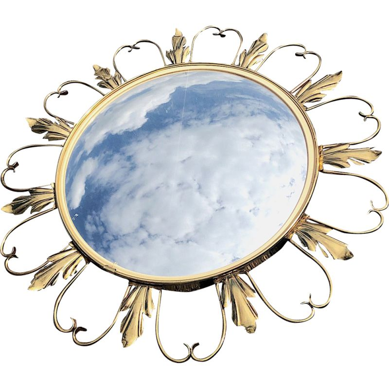 French vintage gilded brass mirror 1950