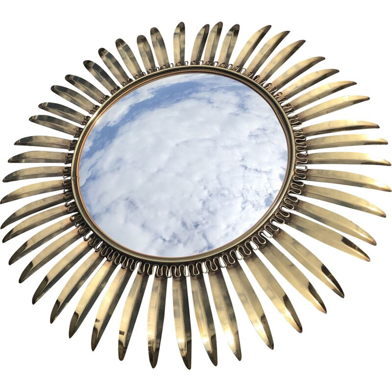 Vintage sun mirror in brass and glass 1950