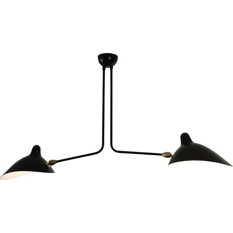 Hanging lamp with 2 fixed arms by SERGE MOUILLE