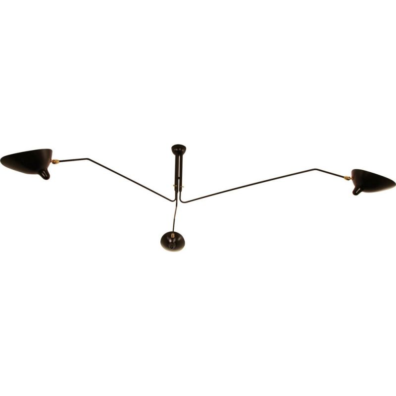 Hanging lamp with 3 swiveling arms by SERGE MOUILLE