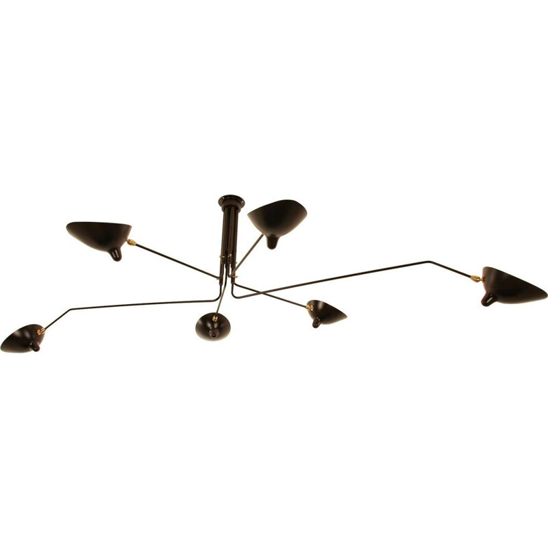 "Hanging lamp with 6 swiveling arms ""Black & White"" by SERGE MOUILLE"