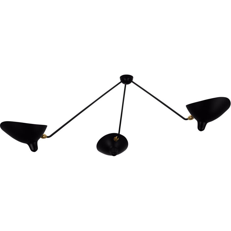 "Hanging lamp ""Araignée"" with 3 fixed arms  by SERGE MOUILLE"