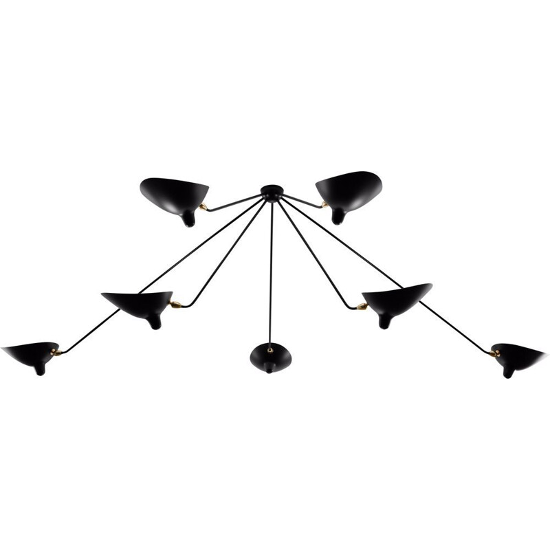 "Hanging lamp ""Araignée"" with 7 fixed arms by SERGE MOUILLE"