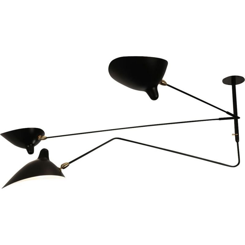 Hanging lamp with 2 arms and 1 curved swiveling arm by SERGE MOUILLE