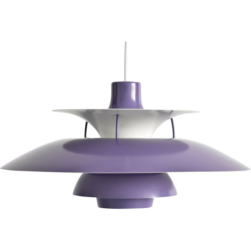 Vintage hanging lamp purple PH5 by Poul Henningsen for Louis Poulsen 1950s