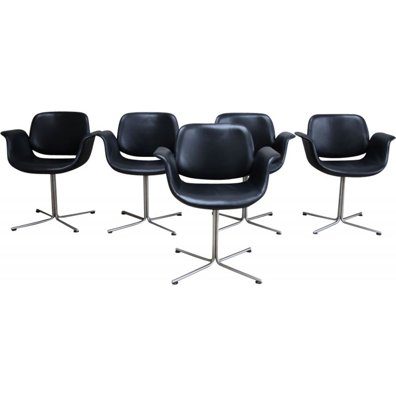 Set of 5 vintage black Flamingo chairs EJ205 Foersom & Hiort-Lorenzen