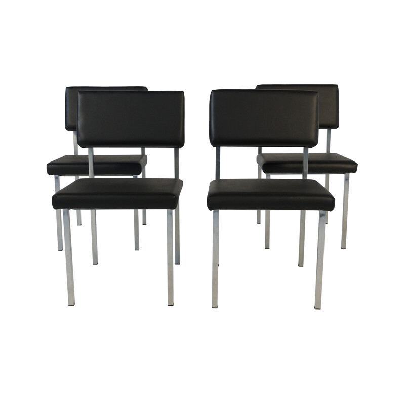 Set of 4 Spectrum chairs in metal and leatherette, Martin VISSER - 1960s