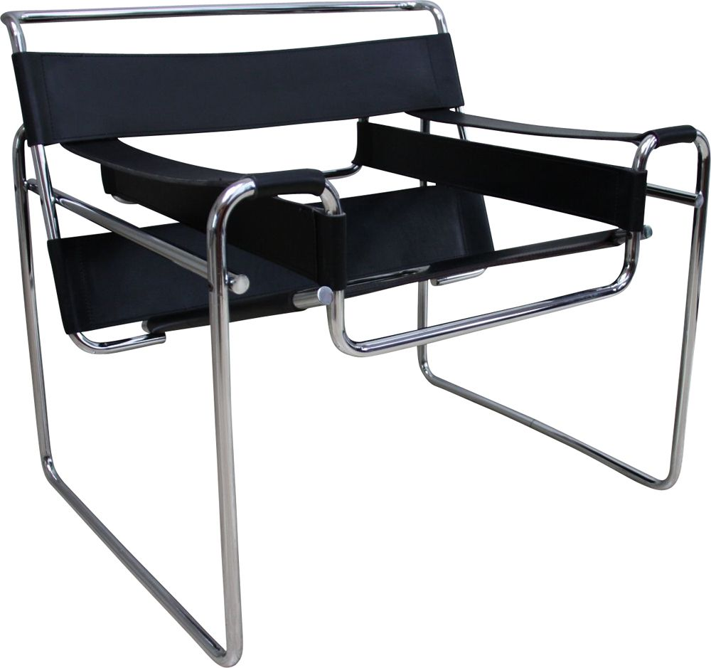 Vintage Wassily armchair B6 in black leather Marcel Breuer for