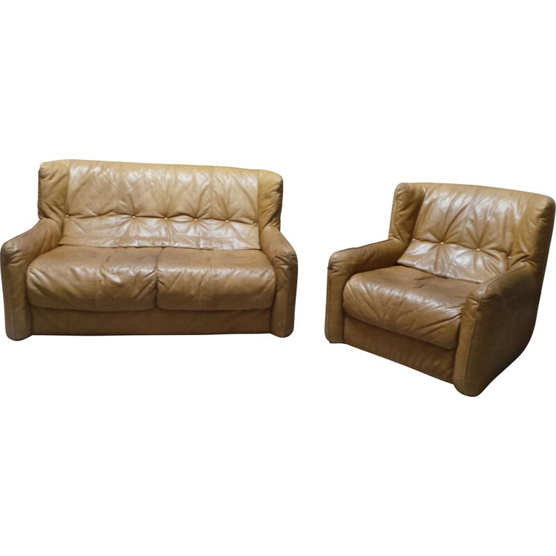 Vintage brown leather 2 seater sofa & armchair 1980