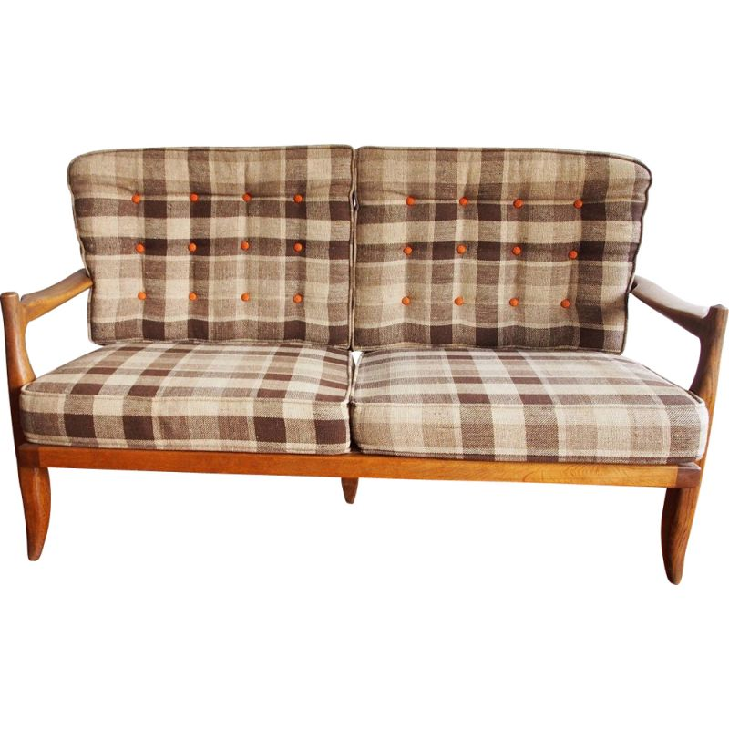 Vintage sofa 2 seaters by Guillerme and Chambron 1970