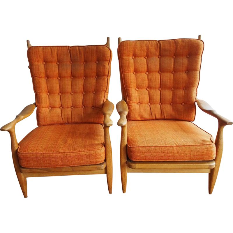Pair of vintage orange armchairs 'Edouard' by Guillerme and Chambron