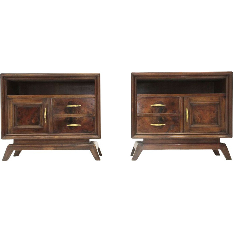 Set of 2 vintage night stands with brass handles Italy 1950s