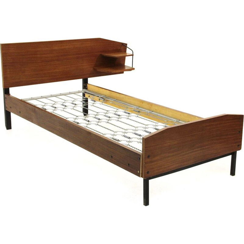 Vintage bed in teak with shelves, Italy 1950s