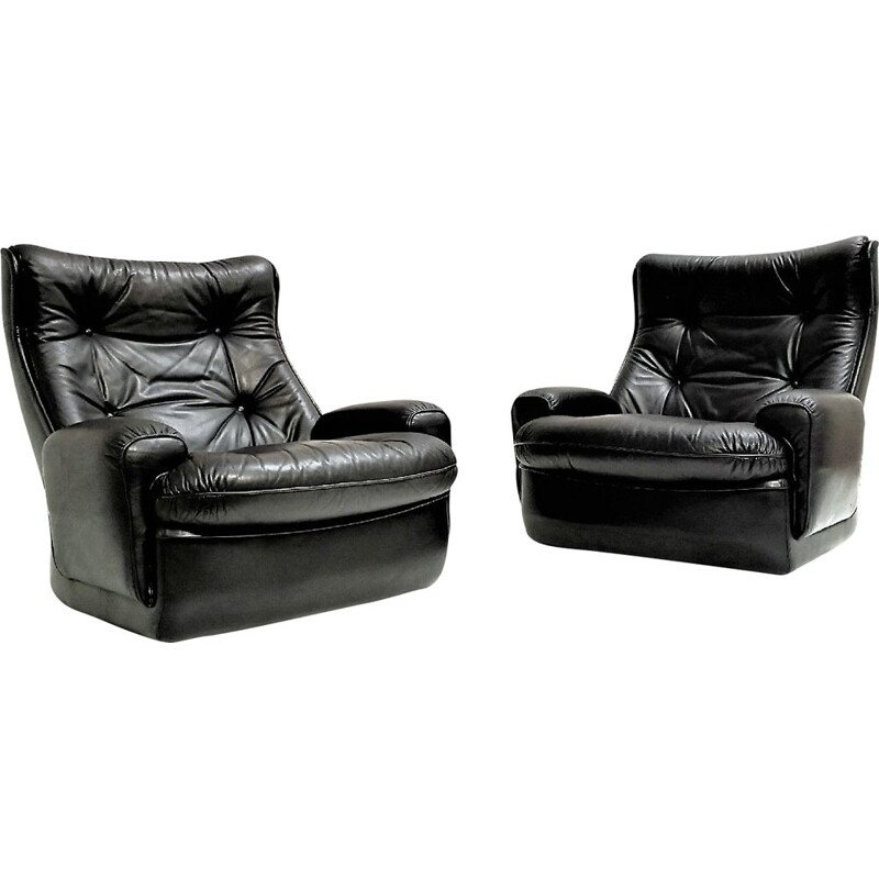 Pair of vintage black leather 'Orchid' armchairs by Michel Cadestin
