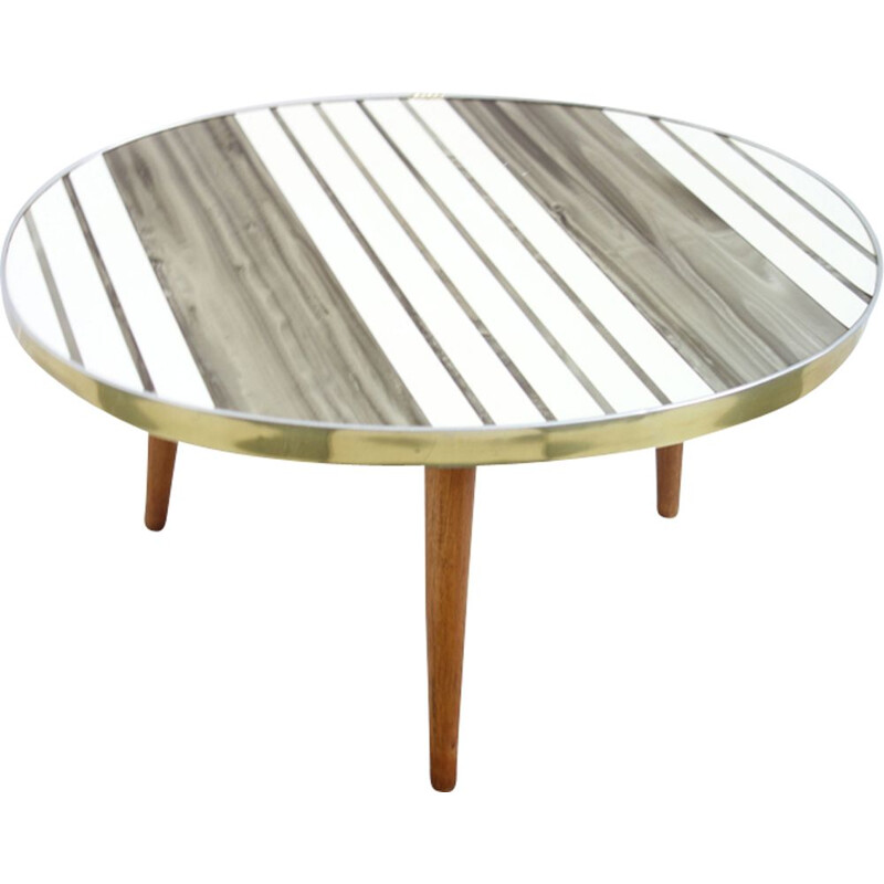 Vintage side table small oval white and golden Lucite Germany 1950s