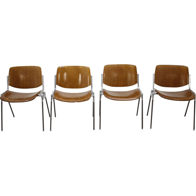 Set of 4 dining chairs by Giancarlo Piretti for Castelli,1960