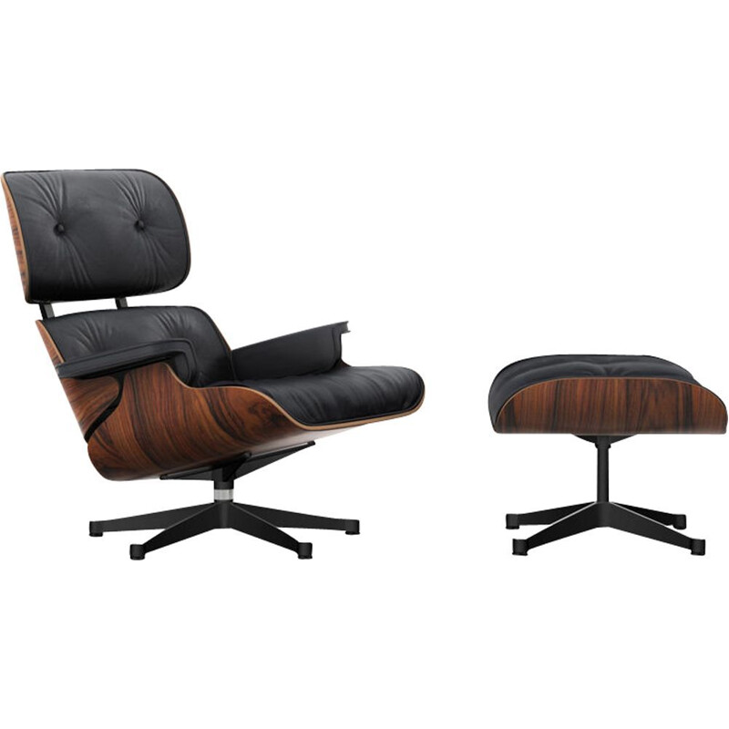 """Lounge chair"" + ottoman by Charles and Ray Eames for VITRA - Rosewood"