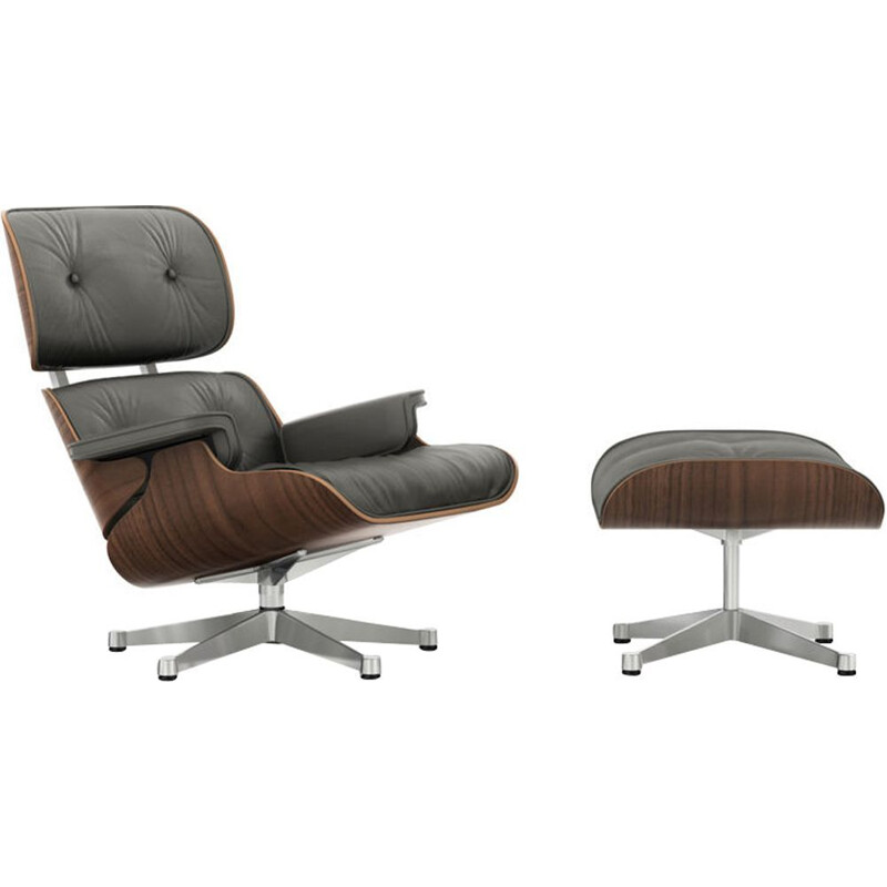 """Lounge chair"" + ottoman by Charles and Ray Eames for VITRA - Black Walnut"