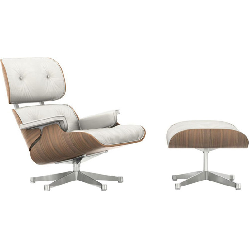 """Lounge chair"" + ottoman by Charles and Ray Eames for VITRA - White Walnut"