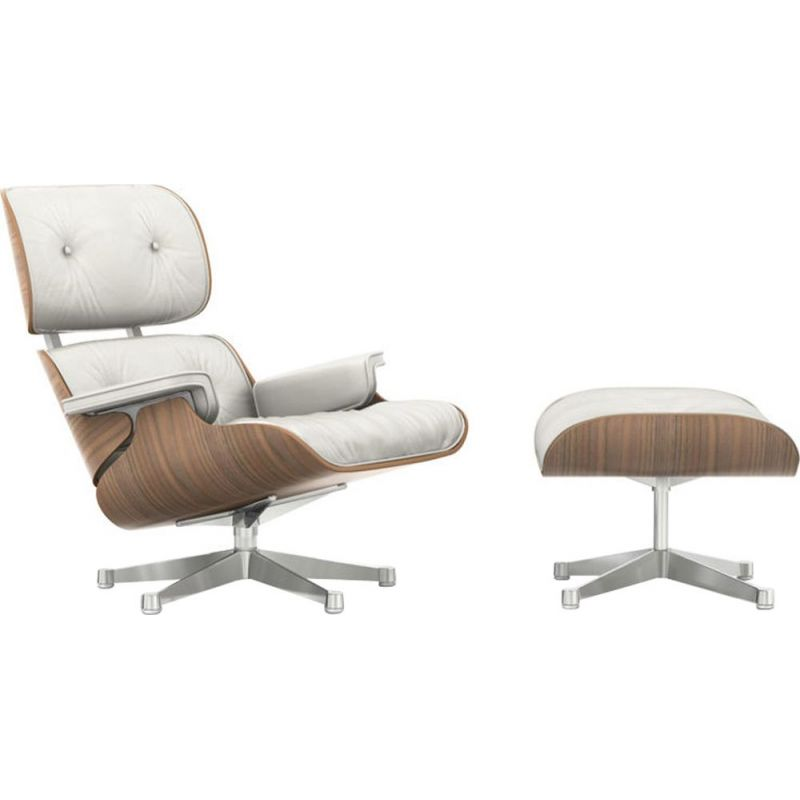 """""""Lounge chair"""" + ottoman by Charles and Ray Eames for VITRA - White Walnut"""
