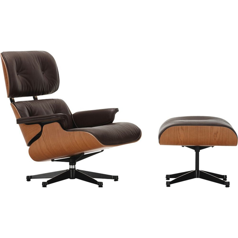 """Lounge chair"" + ottoman by Charles and Ray Eames for VITRA - American cherry wood"