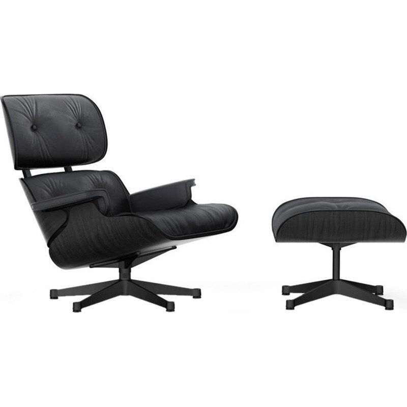 """Lounge chair"" + ottoman by Charles and Ray Eames for VITRA - Black ashwood"