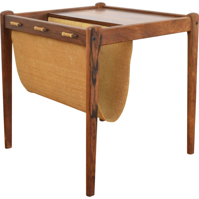 Vintage Side Table with Magazine Holder in Rosewood from BRDR Furbo, Denmark 1960s