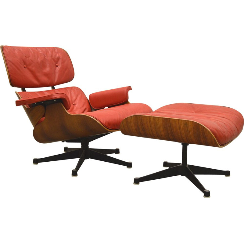Vintage Lounge Chair & Ottoman 1st European Edition Eames by Hille, 1950s