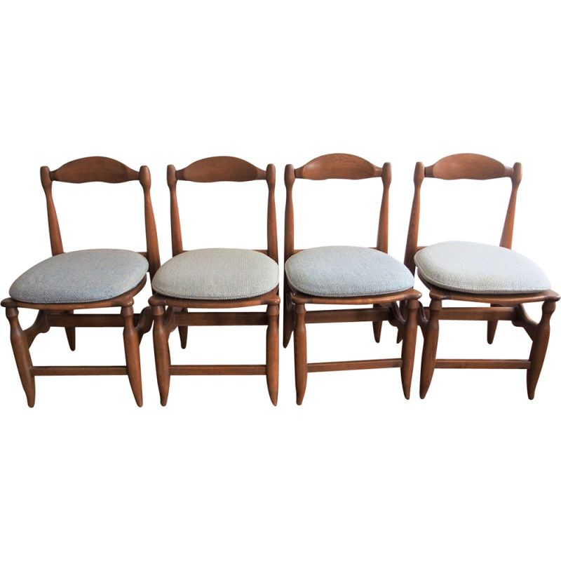 Suite of 4 grey vintage chairs by Guillerme and Chambron 1960