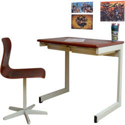 Pagholz desk and chair in wood and metal - 1970s