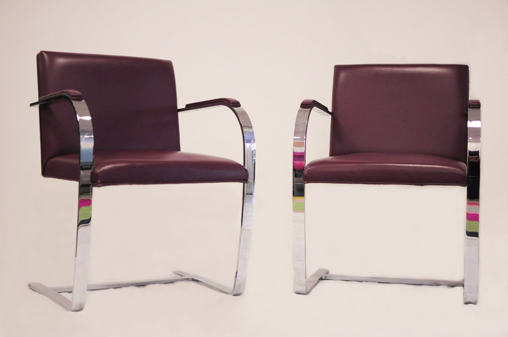 Chaise Brno Mies Van Der Rohe vintage brno armchairmies van der rohe for knoll in burgundy leather