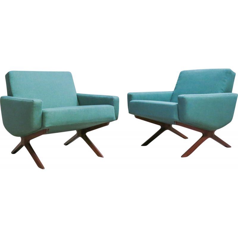 Pair of vintage armchairs for France & Son in teak and green fabric 1960