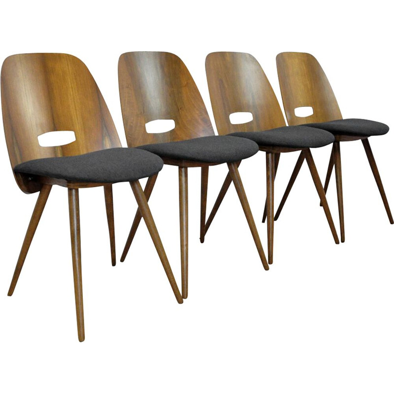 Set of 4 vintage Lollipop chairs for Tatra in black fabric and walnut 1960