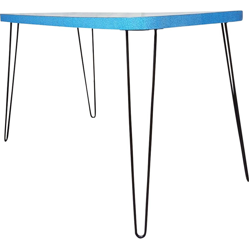 Vintage table in blue formica with hairpin legs 1950