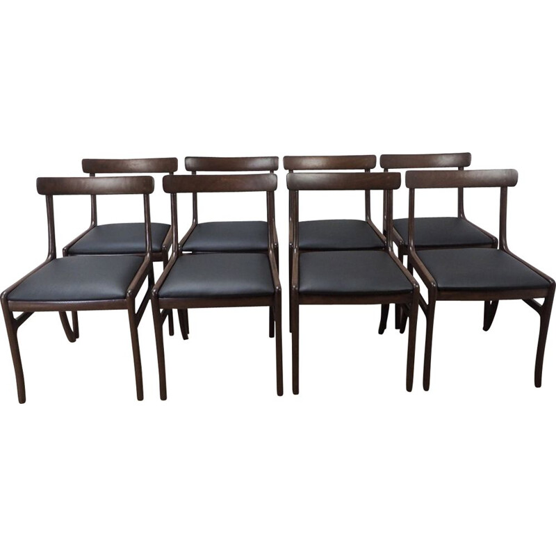 Set of 8 vintage Rungstedlund chairs for Poul Jeppesen in mahogany and black leather 1960