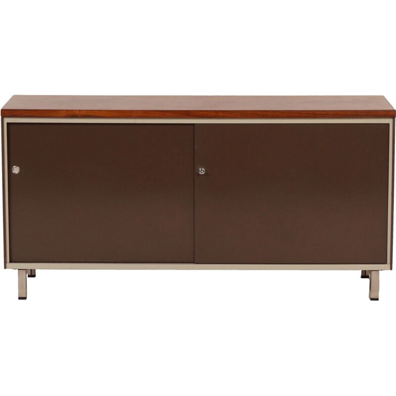 Vintage dutch sideboard for Gispen in teak and metal 1960