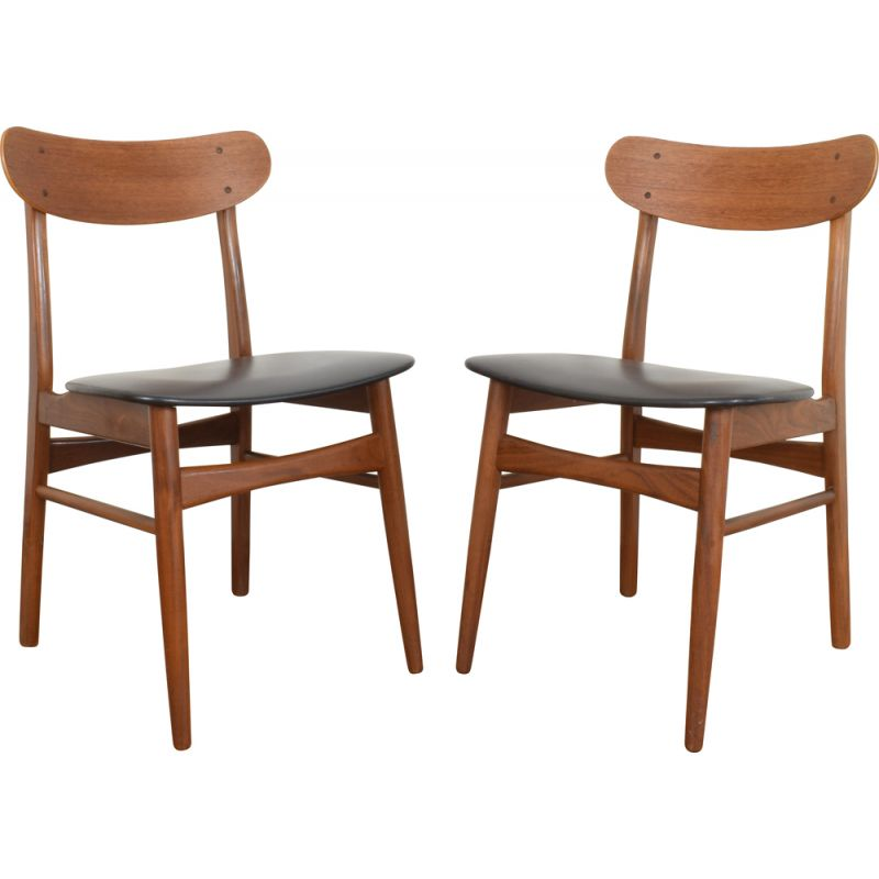 Set of 2 vintage chairs for Farstrup in teak and leatherette 1960