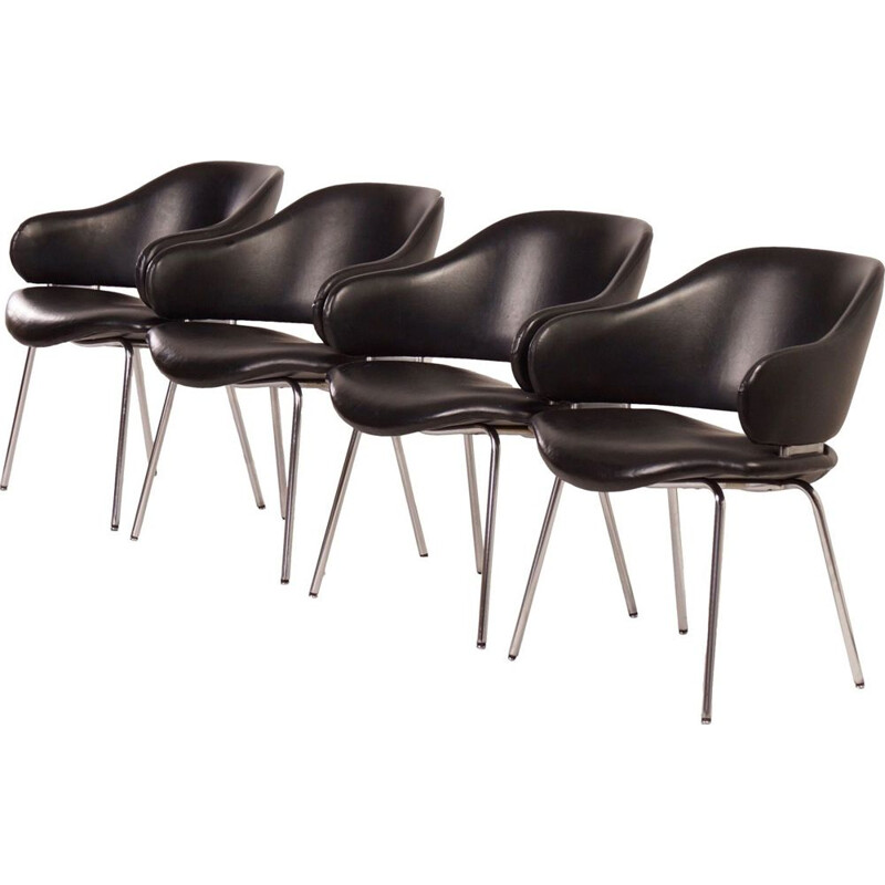 Set of 4 vintage black leather armchairs by Geoffrey Harcourt for Artifort 1960s
