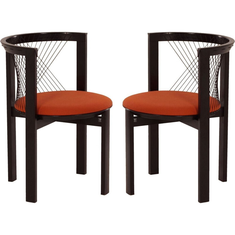 Set of 2 orange vintage chairs by Niels J. Haugesen for Tranekaer 1980s