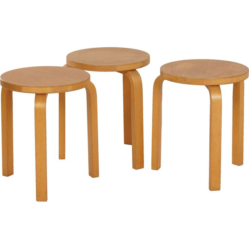 Set of 3 vintage stools model 60 by Alvar Aalto for Artek