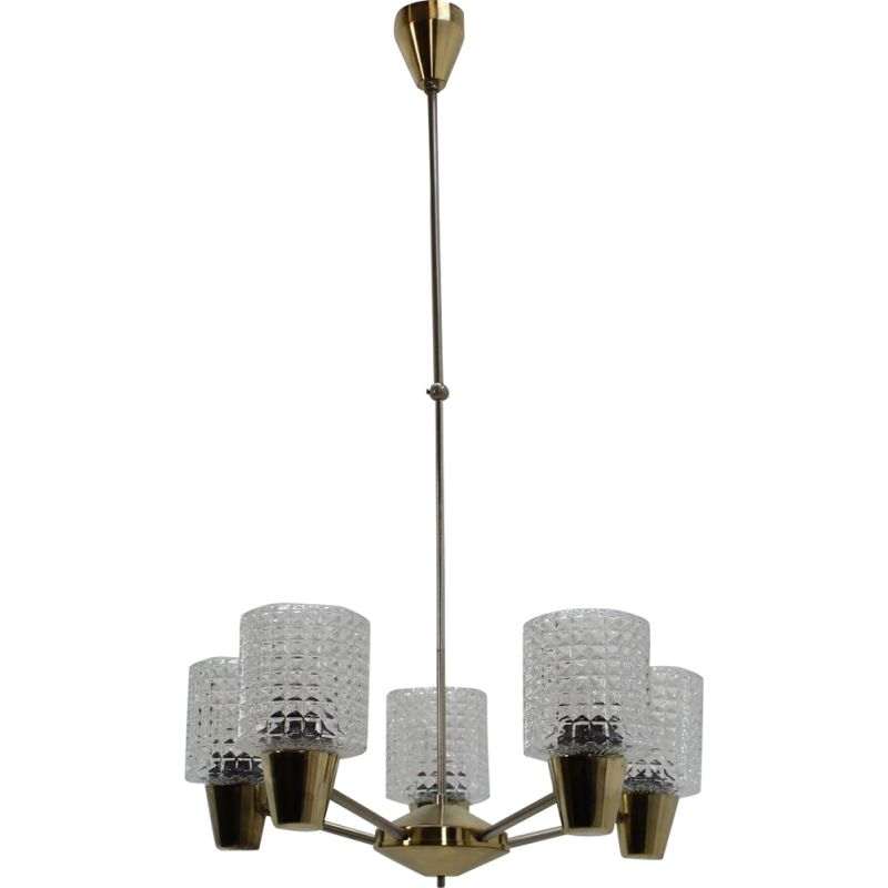 Vintage big adjustable chandelier by Kamnický Šenov