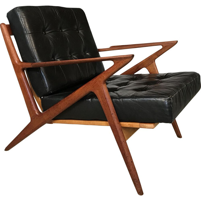 Vintage Z-Chair in leather and teak by Poul Jensen for Selig