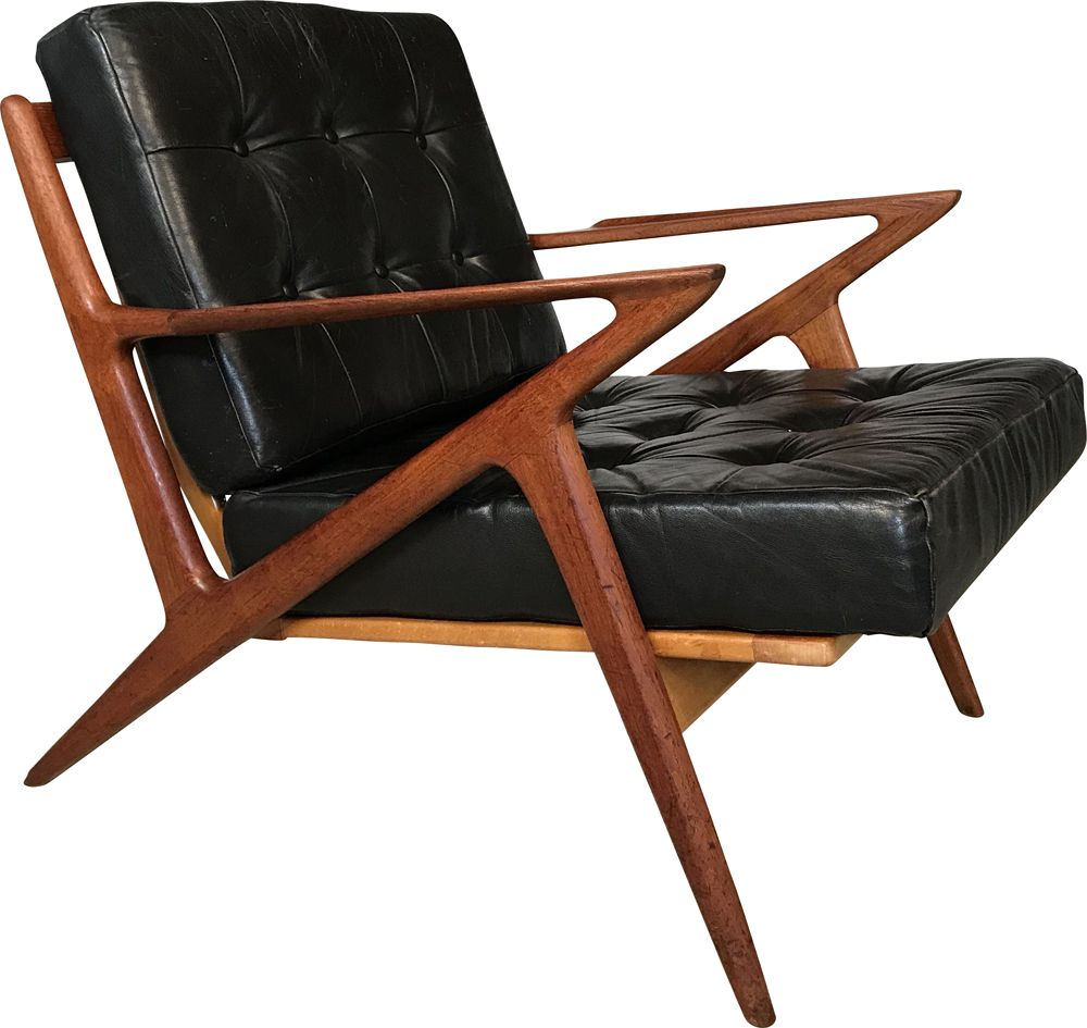 Swell Vintage Z Chair In Leather And Teak By Poul Jensen For Selig Download Free Architecture Designs Scobabritishbridgeorg