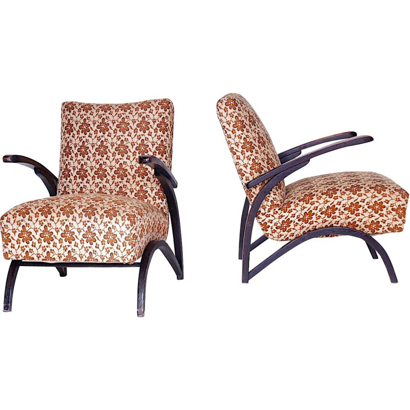 Pair of wooden armchairs by Jindřich Halabala,1950