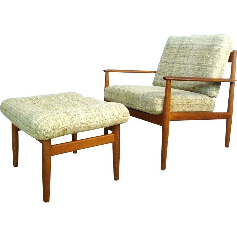 Vintage armchair with its Danish teak & wool footrest by Grete Jalk for Cado,1960